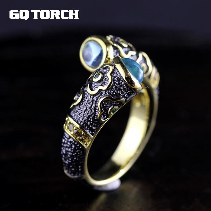 925 Sterling Silver Ring Inlaid Natural Blue Topaz Vintage Enamel Rings For Men And Women Lovers