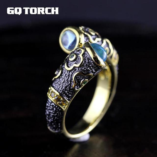 925 Sterling Silver Ring Inlaid Natural Blue Topaz Vintage Enamel Rings For Men And Women Lovers Opening 18k Gold Plated