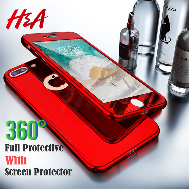 H&A 360 Degree Plating Mirror Phone Case For iPhone 7 8 6 6s Plus Full Cover Protective Case For iPhone 8 7 Plus With Soft Film