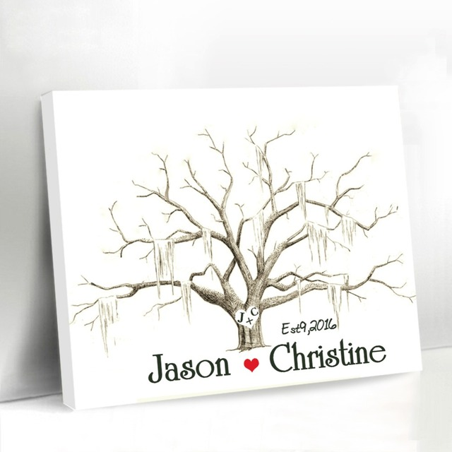 Casamento Wedding Fingerprint Tree Guest Book Canvas Printing Custom Couple Names With Heart Thumbprint Guestbook Party