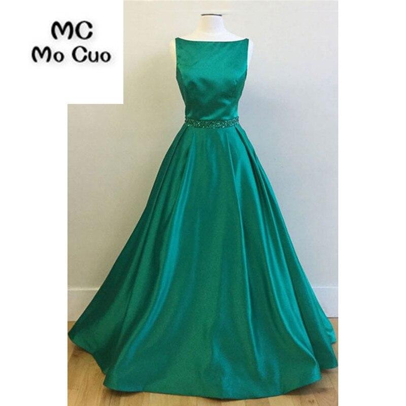 New 2018 Teal   Evening   Prom   dresses   with Beaded Belt Vestidos de fiesta Sweep Train Satin Formal Women's   Evening     Dress   Long