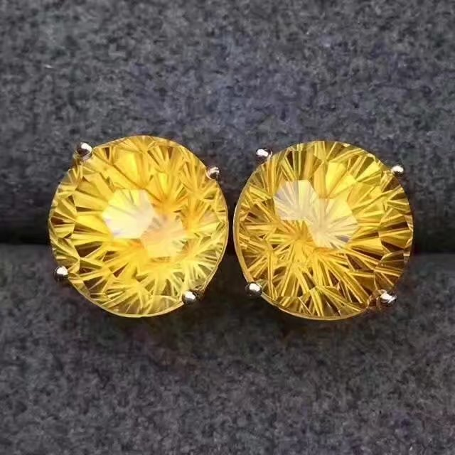 LANZYO 925 Sterling Silver Piezoelectricity Citrine Earrings Fireworks Birthday Gift Fine Jewelry ethnic style e101001agj