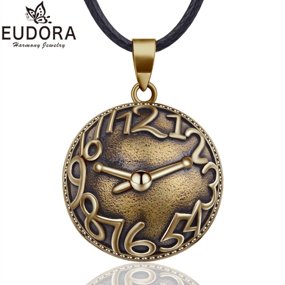 EUDORA Bronze Horloge Boule D'harmonie Collier Vintage Carillon Bola Pendentif pour les Femmes Mode Bijoux Cadeau Mexicain Grossesse Boule