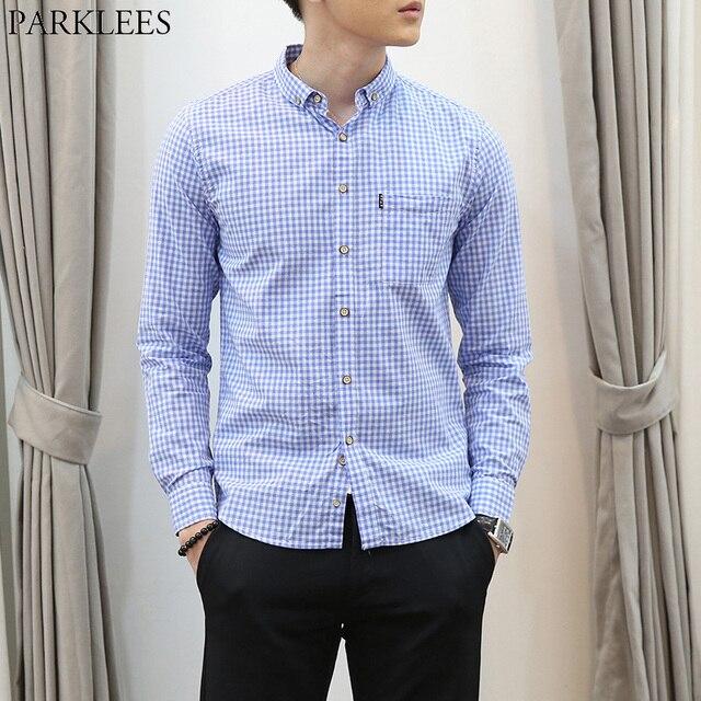 a0e136458 Pequena Camisa Xadrez Homens Camisa Social Masculina 2017 Ocasional Magro  Botão Para Baixo Camisas de Vestido