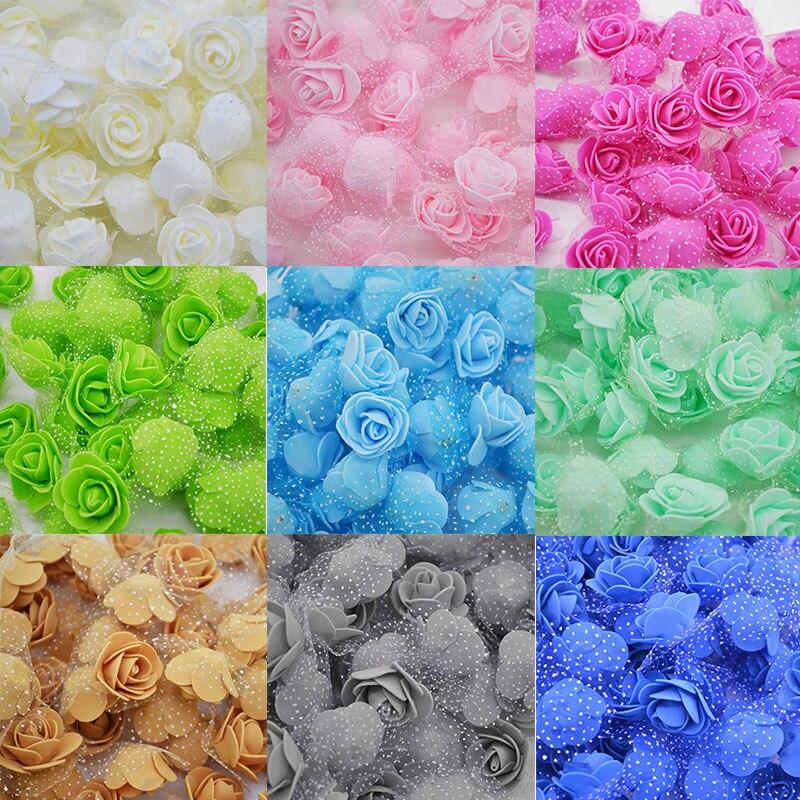 50 шт./лот 3,5 см Мини Искусственные цветы Роза головки шелк ПЭ пены цветы для домашний сад DIY венки шары свадебный Декор поставки
