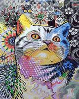 MaHuaf X1200 Amazing Colorful Cat Painting By Numbers Hand Painted Coloring By Numbers On Canvas Wall