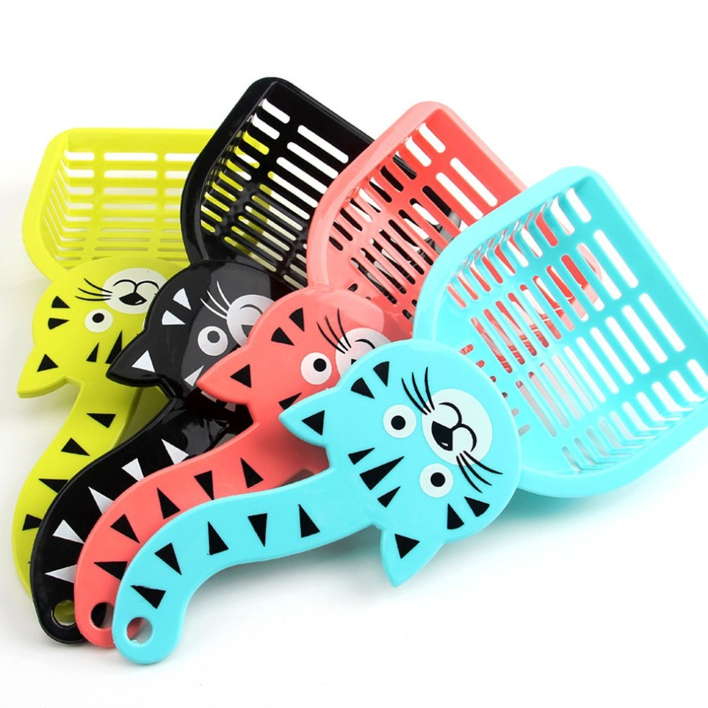 Cute Cat Handle Plastic Litter Scoop Durable Pet Cats Kitten Sand Waste Scooper Shovel Pet Cleaning Tool Pet Accessories