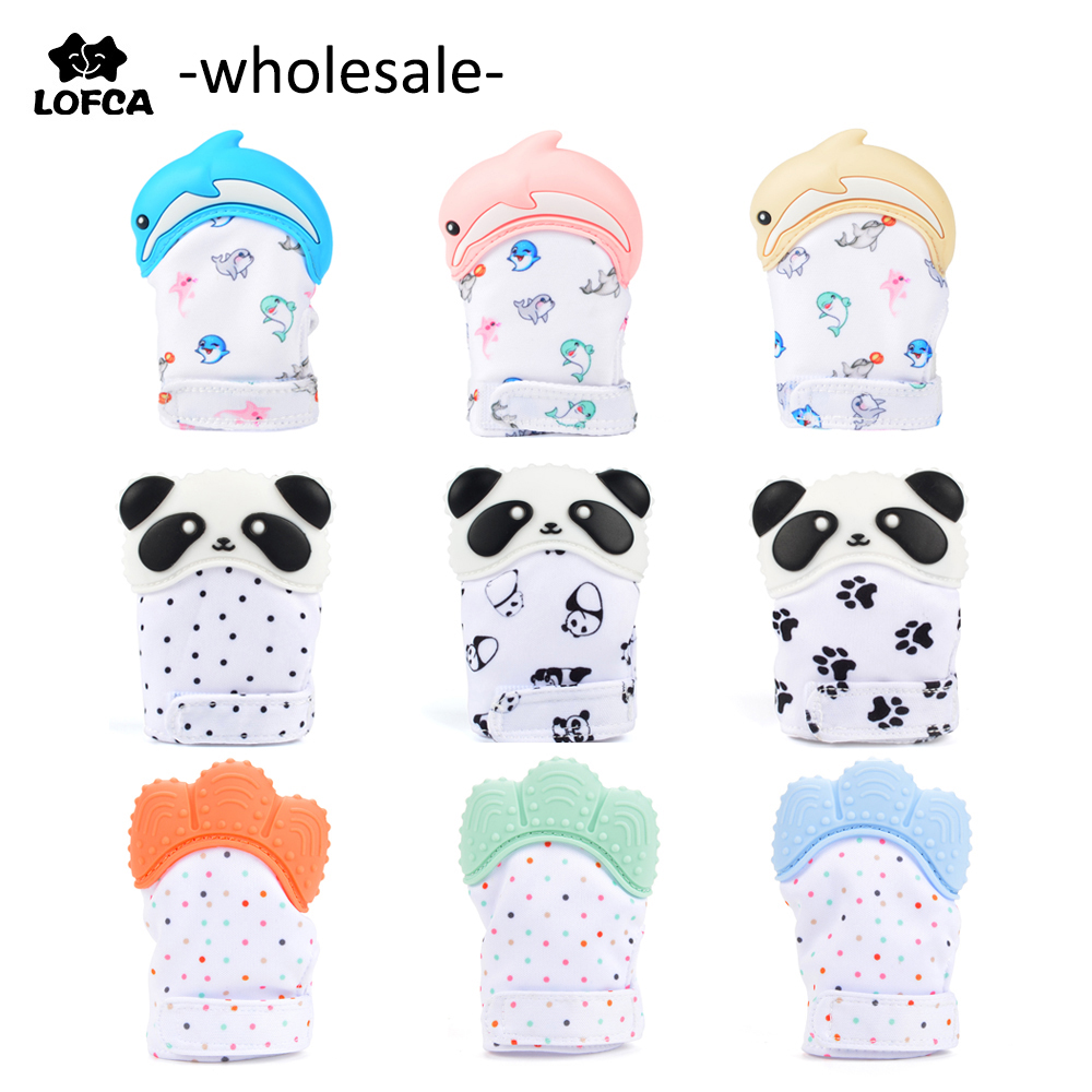 Wholesale Silicone Teether Baby Pacifier Glove Teething Panda Animal Wrapper Sound Teether Glove Chewable Nursing Silicone