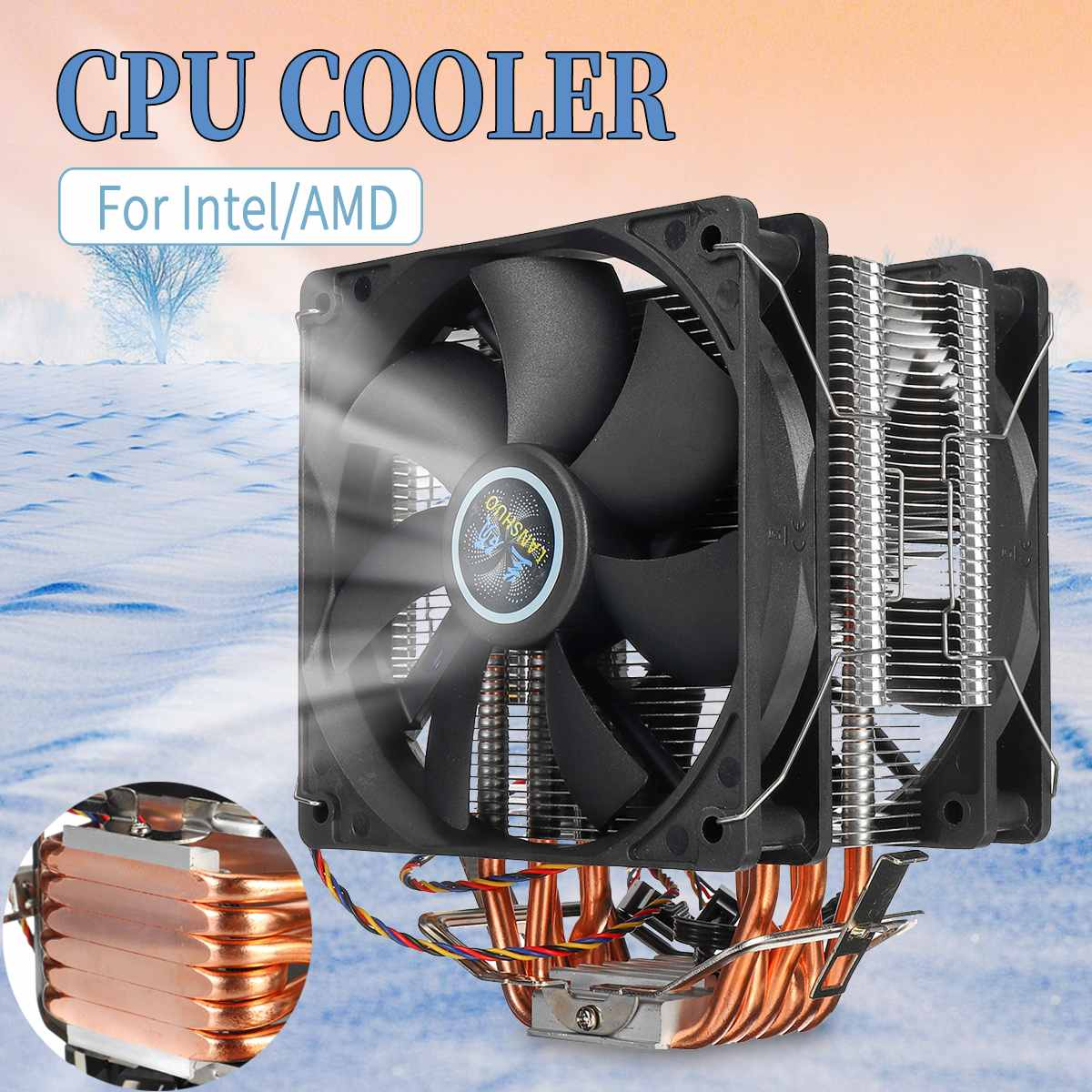 6 caloducs ventilateur refroidisseur de processeur refroidisseur de refroidissement double ventilateur refroidisseur de processeur radiateur pour LGA 1150/1151/1155/1156/1366/775 AMD