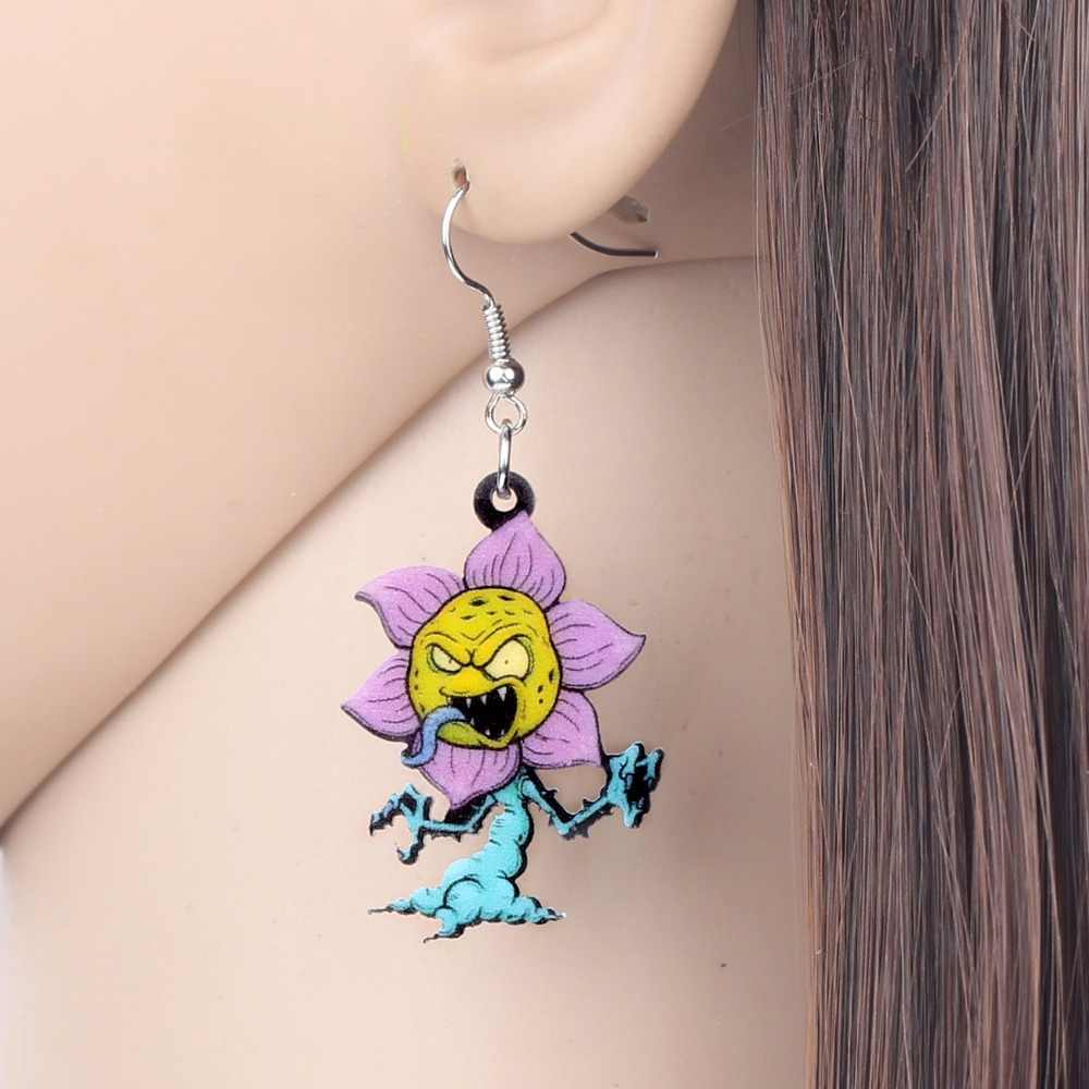 WEVENI Acrylic Halloween Man Eater Flower Earrings Drop Dangle Anime Trendy Jewelry For Women Girl Hot Party 2018 Charms Gift