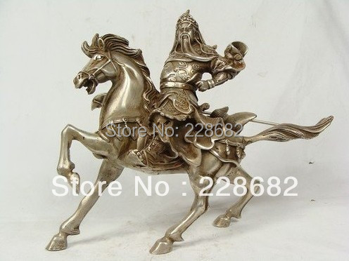 Asian Antiques Tibet silver old Handwork Statue Guan Gong sculpture  Free ShippingAsian Antiques Tibet silver old Handwork Statue Guan Gong sculpture  Free Shipping