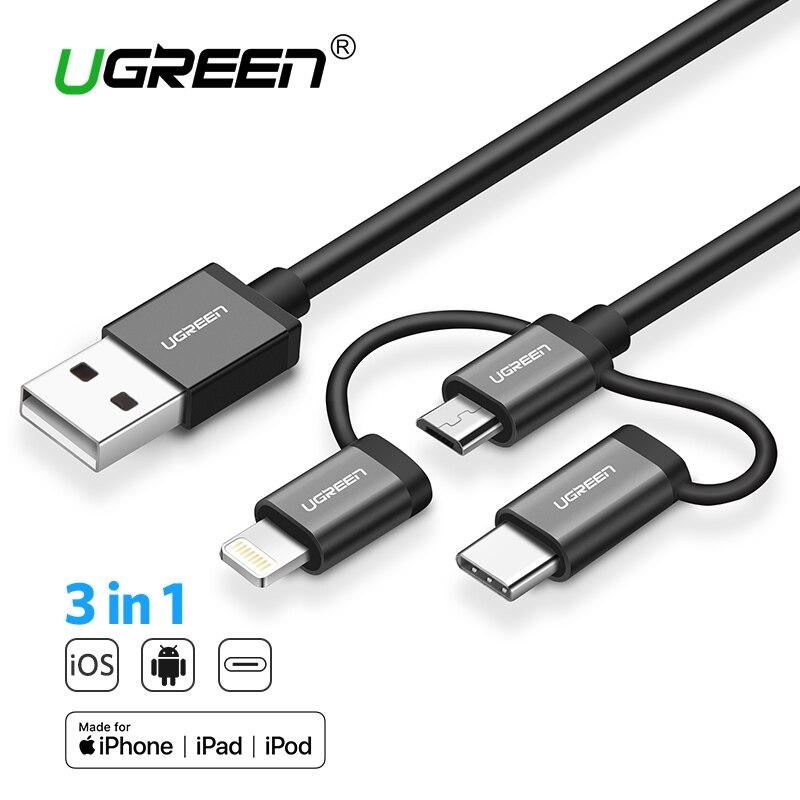 Ugreen USB Cavo Per il iphone XS X 8 7 6 di Carico del Caricatore 3 in 1 Cavo Micro USB Per Android USB di Tipo di Tipo c-c Cavi per cellulari e smartphone