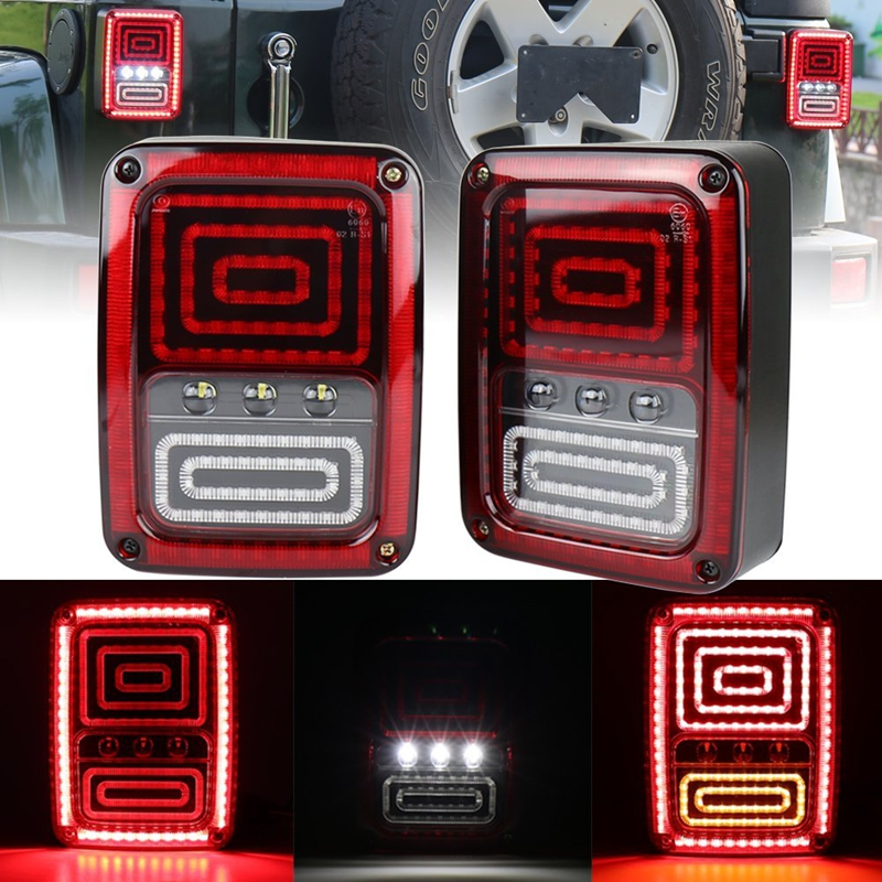 LED хвост свет дым объектив для Wrangler JKU 2007-2017 JK с перерывом резервного света Обратный парковка сигнала поворота фонаря