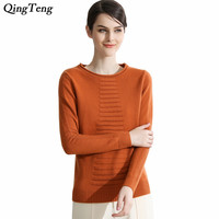 Rollneck Pure Cashmere Sweater Female Geometric Ladder Front Long Sleeve Stiped Pullovers Tops Winter Clothing For Women Knit