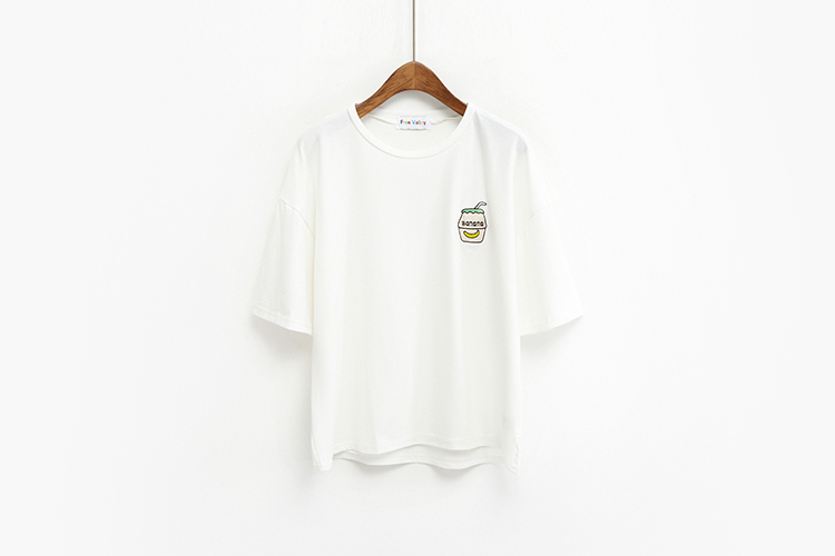 HTB1Ij.VKFXXXXbcXXXXq6xXFXXXn - Summer New Cute Banana Milk Embroidered T-shirts PTC 192