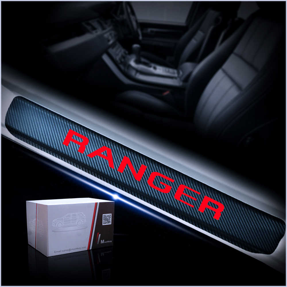 4PC Grey Carbon Vinyl Door Sill Protectors Ford Ranger 2012 KIT!