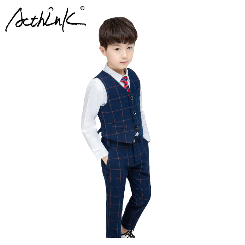 ActhInK 2019 Hot Sale 3Pcs Boys Plaid Waistcoat Formal Suit Long Sleeve Shirts +Pants & For With Tie