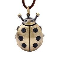 Beetle Quartz Pocket Watches Men Women Necklace Bronze Pendant Watches Leather Pocket Watch Chain Relogio Bolso