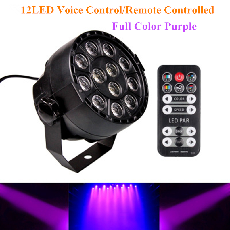 12Leds Sound Active DMX512 Led Stage Par Light Full Color Purple Led Spotlight Lamp for Christmas Home Party Disco DJ Projector portable music auto sound active leds