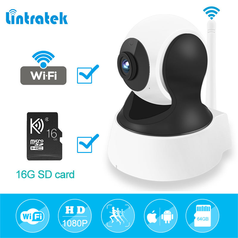 Wireless PTZ IP Camera Wifi Video Surveillance Home Security Camera hd 1080P 2.0mp mini CCTV with 16G SD Card IP Cam LINTRATEK