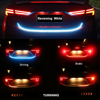 Niscarda Car Rear Trunk Tail Light Dynamic Reverse Warning LED Strip 12v Auto Additional Break Trun Signal Lamp