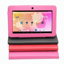 "7 ""Q8 Tablet PC Android 4.4 Quad Core 1G 16G Bluetooth WiFi Cámara Dual Capacitiva Pink Tablet PC 1G + 16G Soporte de Cuero caso"