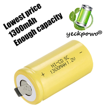 True capacity! 14 pcs SC battery sub c battery rechargeable battery replacement yellow color 1.2 v 1300 mah