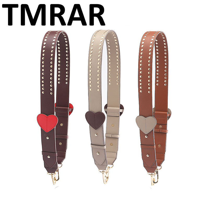 New 2019 Fashion Classic Bag Strap Split Leather Studs Strap Love Straps Hot And Chic Necessary Women Shoulder Belts Qn263