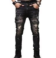 Jeans nam New fashion robins lỗ jeans quần men thời trang 's jeans nam Quần quần thẳng thiết kế chất lượng cao YF009