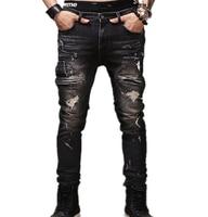 jeans male New fashion robins hole jeans pants men fashion's jeans men Trousers straight pants designer high quality YF009