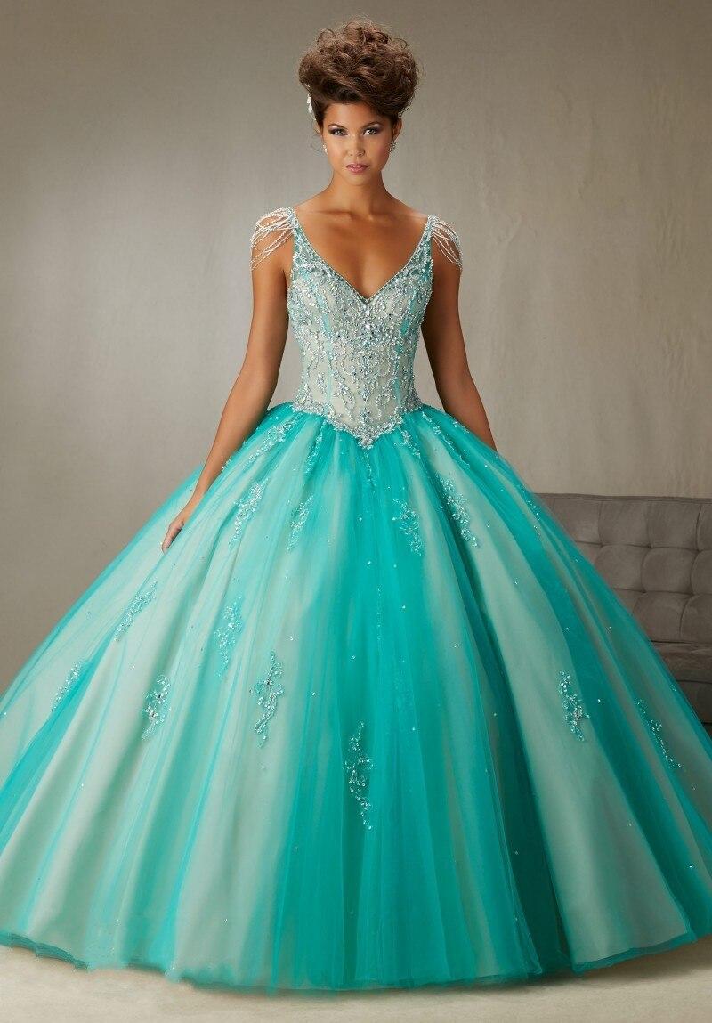 Vestidos de 15 anos perle corsage longueur de plancher pas cher Quinceanera robes robe de bal Tulle Debutante robes doux 16 robes de bal