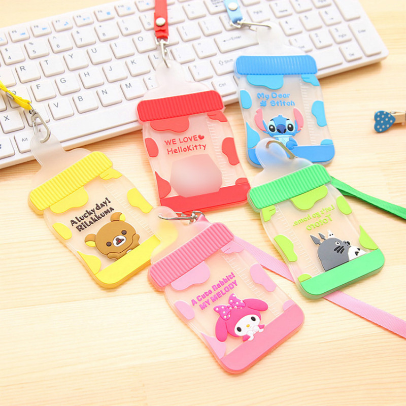 Waterproof Card Holder Silicone Bus Bank ID Card Case Cute Feeding Bottle Shaped Cartoon Card Cover With Rope цена