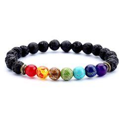 1 stücke Mode Stil 7 Chakra Healing Perlen Armband Natürliche Lava Stein Diffusor Armband Schmuck armbanden voor women