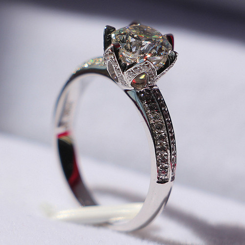 2 Carat Lotus Flower Shape Diamond Engagement Ring Solid Sterling