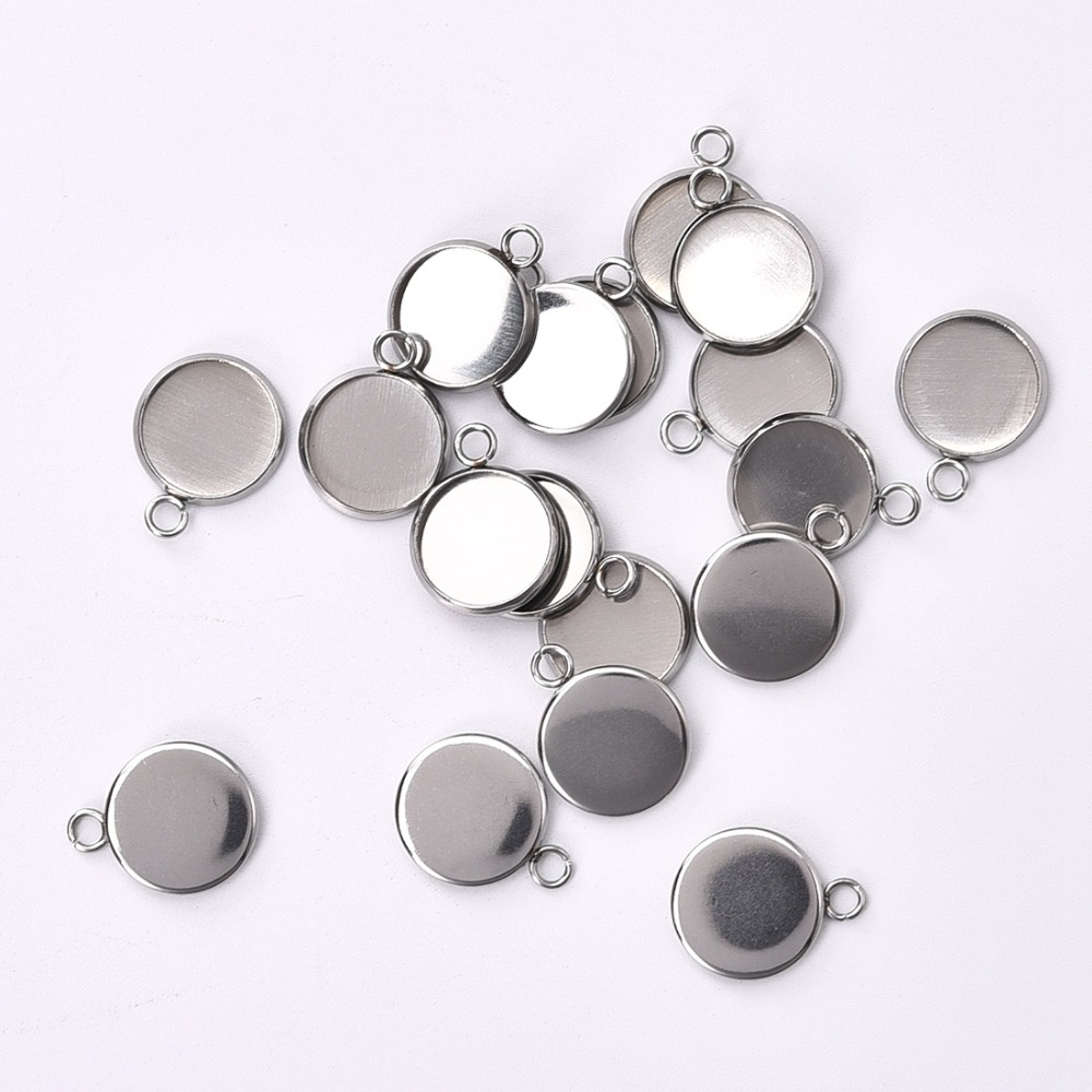 US $1 71 39% OFF|Round Stainless Steel Pendant Cabochon Setting Bezel  Jewelry Making Component Base 6mm 8mm 10mm 12mm 14mm 16mm 18mm 20mm 25mm-in