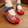 Women Handicraft Cloth Embroidery dance shoes Women Cotton Fabric Flower pattern Round toe 'Walking shoes