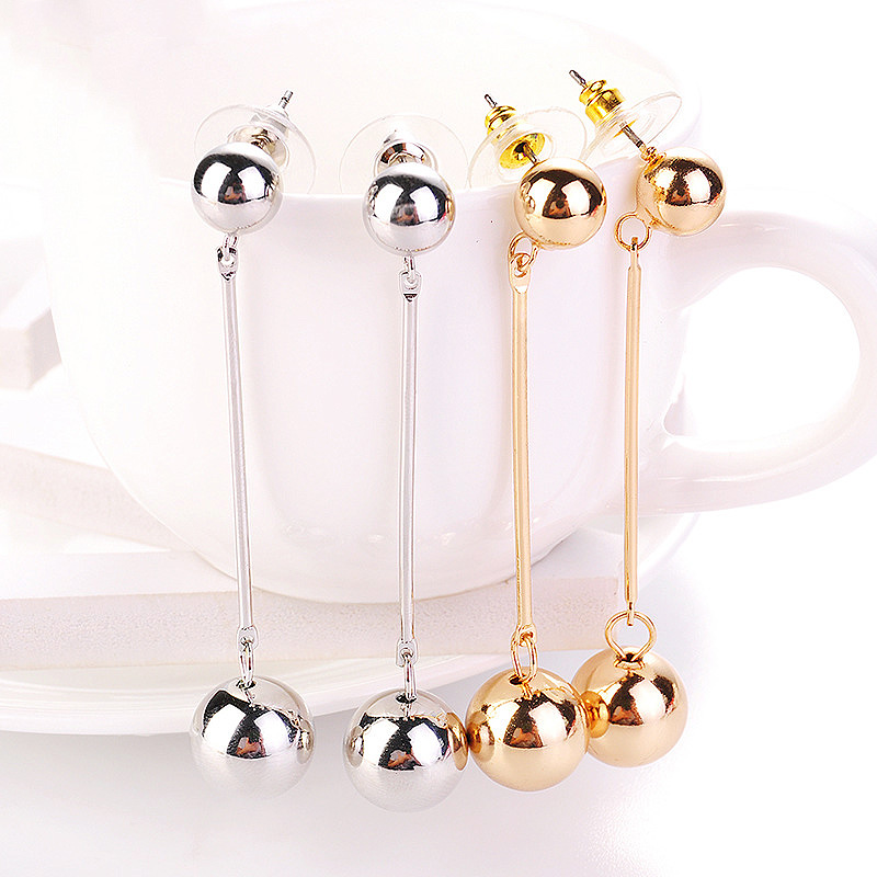 Fashion 1 Pair Silvery Hanging Long Party Big Metal Beads Unique Exquisite Round Ball Drop Earrings Golden ...