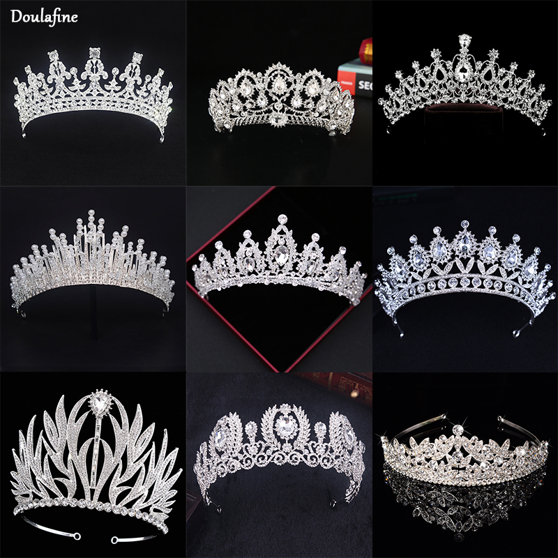 Bride Tiara Jewelry-Accessories Headpiece Crown Crystal Wedding-Hair Pearl-Queen Silver