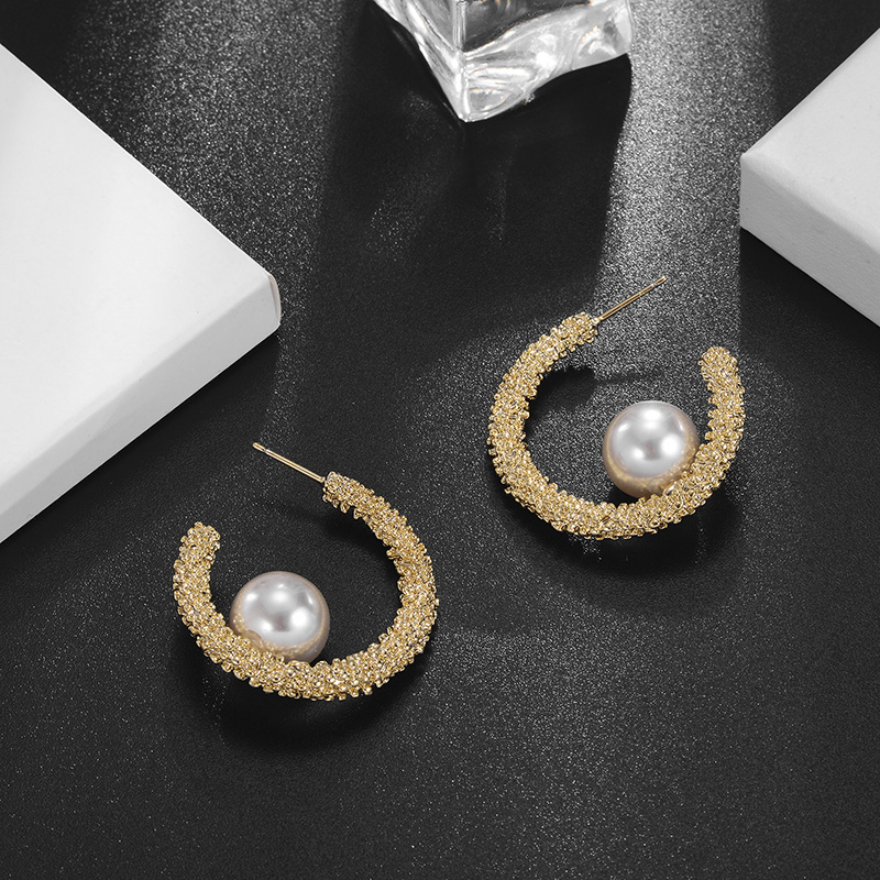 Vintage Round Pearl Circle Earrings Gold Color Alloy Earring For Women Party New Fashion Jewelry boucle d'oreille femme 2020 image