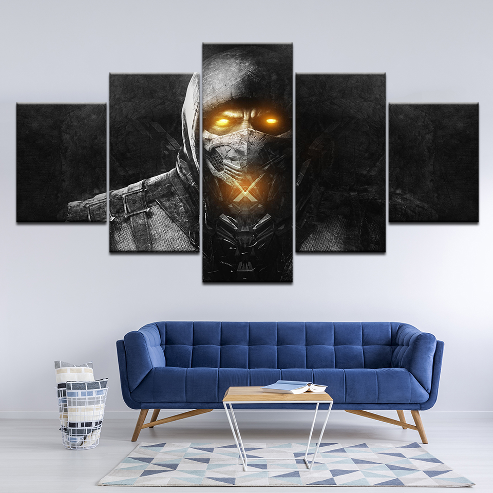 Canvas Painting Mortal Kombat 5 Pieces Wall Art Painting Modular Wallpapers Poster Print for living room Home Decor in Painting Calligraphy from Home Garden