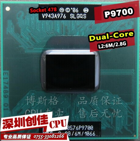 Free shipping Intel cpu laptop Core 2 Duo P9700 CPU 6M Cache/2.8GHz/1066/Dual-Core Laptop processor for PM45 GM45