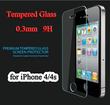 Top quality Toughened glass for iphone 4 4S 4G ultra thin 0 3mm explosion proof tempered