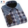 Langmeng 2015 promoção de inverno homens quentes denim shirt calças de brim camisa xadrez longo-luva de veludo além disso camisas de flanela casuais retro estilo