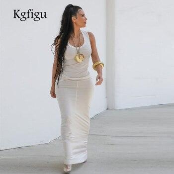 63fd5435b3feed1 KGFIGU платье Ким Кардашьян 2019 модная модель одежда макси длинный  хлопковый Халат сексуальная без рукавов белая vestidos Женская одежда