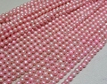 Wholesale Real Pearl Bead 6mm 15'' Bright Pink Natural Freshwater Pearl Loose Bead Handmade Gift