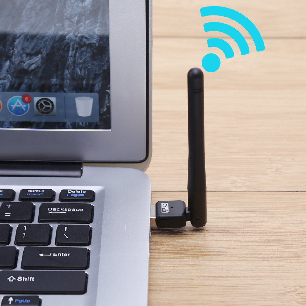 Wireless WiFi Adapter AC600 2.4Ghz & 5Ghz Dual Band USB Wi-fi Network LAN Card w/ High-gain 3dBi Antenna for Desktop Computer PC