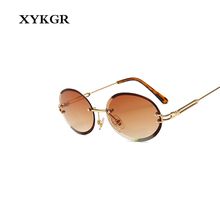 XYKGR fashion trend frameless oval sunglasses brand designer yellow piece red men and women glasses UV400