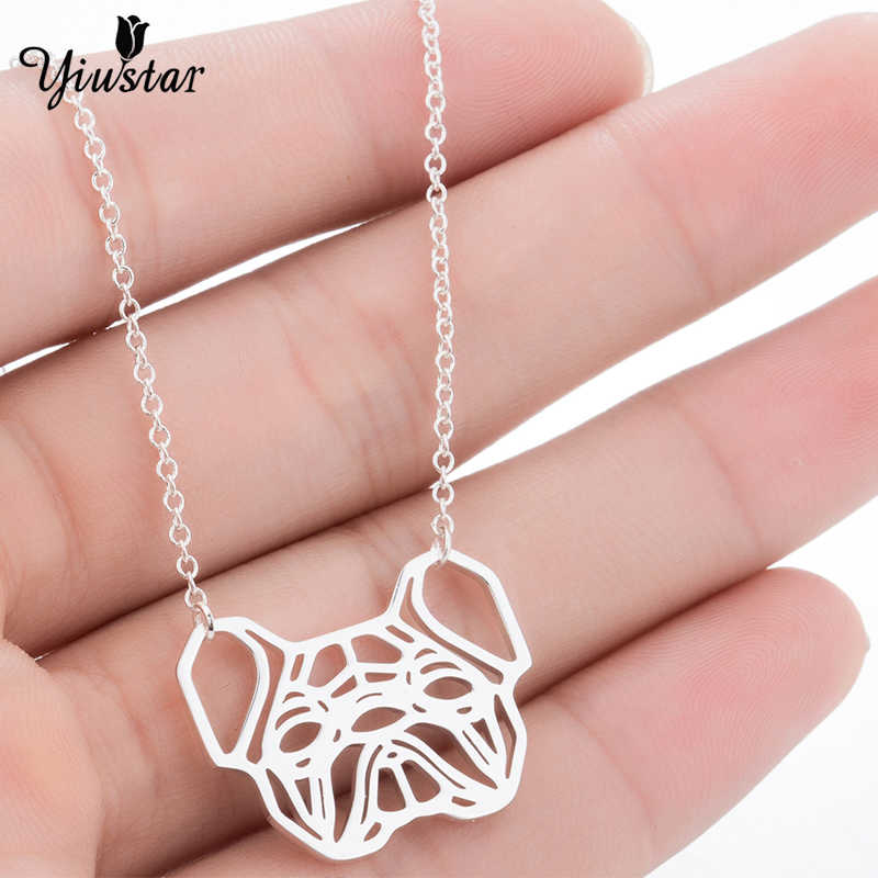 Yiustar New Hot Sale Vintage Animal French Bulldog Necklaces for Women Cute Gold Hollow Head Dog Necklace Majestic Party Jewelry