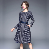 High Quality Autumn Winter Female Dress 2018 New Fashion Long Sleeve O Neck Striped Slim High