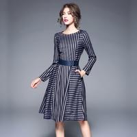 High Quality Autumn Winter Female Dress 2018 New Fashion Long Sleeve O Neck Striped Slim High